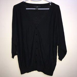 H&M Black Button Down Blouse Top Womens Size S